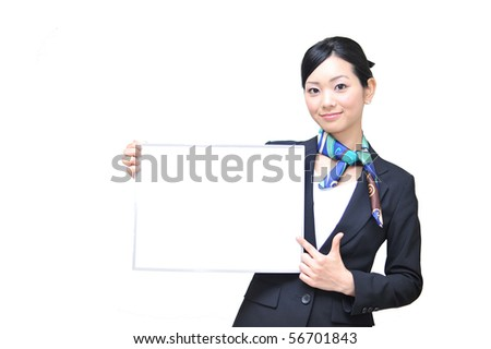 asian stewardess holding a white board