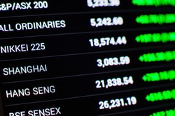 asian stock market chart,Stock market data on LED display concept
