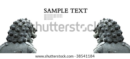 Asian stone lion on White Background,sample text