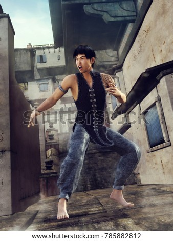Stock Photo Asian street fighter in a back alley in a fighting position. 3D illustration.