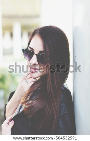 Asian style black hair model with sunglasses