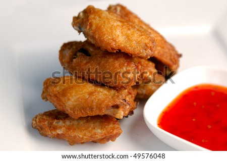 Asian Style Deep Fried Chicken With Sweet Chili Sauce Stock Photo ...