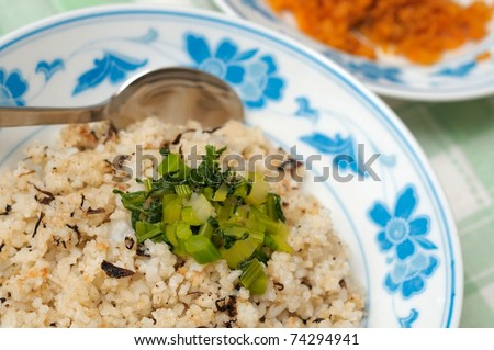 Asian style fried rice using healthy unpolished brown rice.