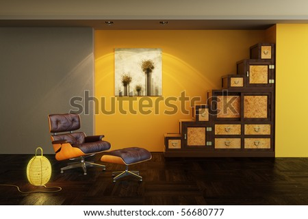 asian style interior 3d rendering