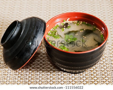 asian style, miso soup - stock photo