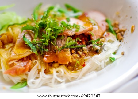 Asian style noodle with pork and vegetables