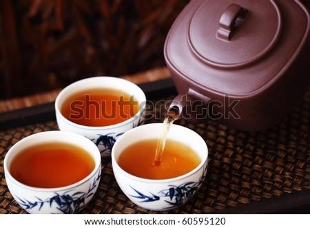 Asian Tea Set On Bamboo Mat,Closeup. Stock Photo 60595120