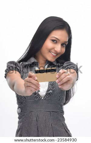 Asian teenage girl with the credit card