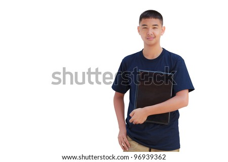 Asian teenager boy hugging laptop computer, Isolated on white