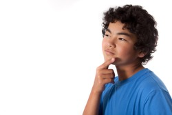 Asian Teenager thinking isolated on white for copy space