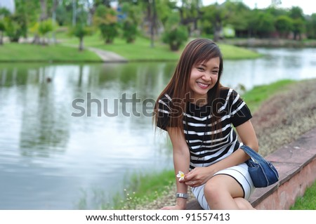 asian thai attractive woman in garden