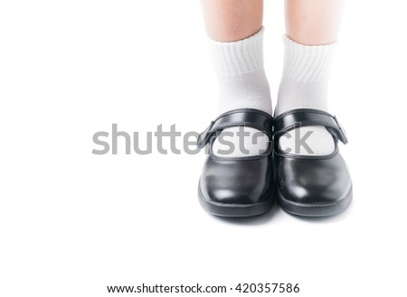 743d3dae7530 Asian Thai girls schoolgirl student wear a black leather shoes as a school  uniform in isolated