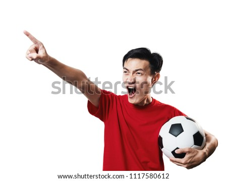 Asian Thai people soccer fan football in red sleeve shirt isolated on white background high contrast. #1117580612
