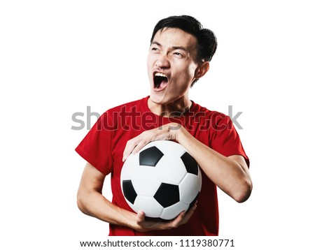 Asian Thai people soccer fan football in red sleeve shirt isolated on white background high contrast. #1119380771