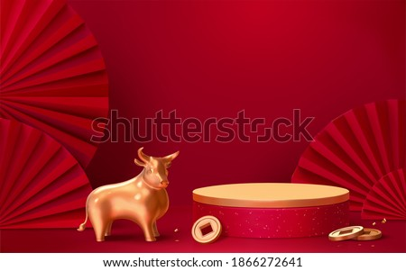 Asian theme product display podium with red wall, gold bull and Japanese paper fans, 3d illustration background