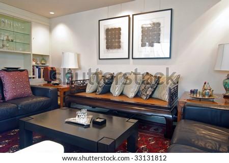 Asian themed interior design living room