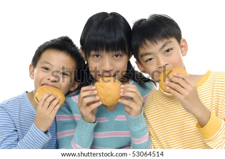 Asian three young friends eating hamburgers