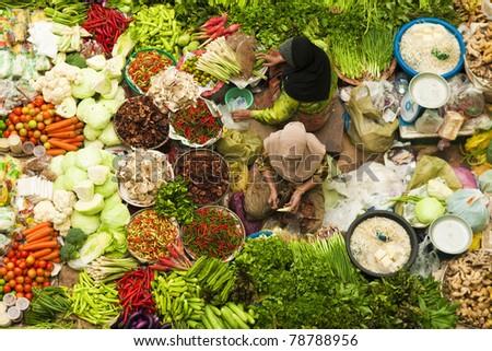 Asian vegetable market in Kota Bharu Malaysia