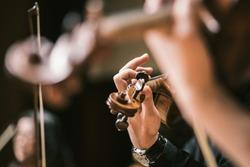 Asian Violin Playing Hands Close Up