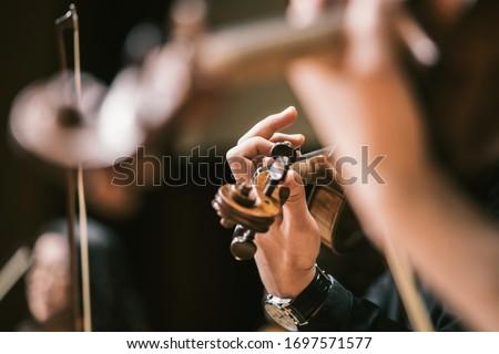 Asian Violin Playing Hands Close Up Stockfoto ©