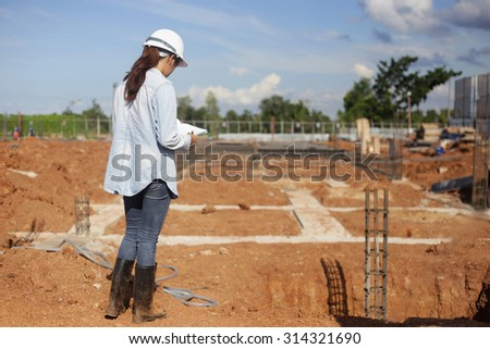asian wamen civil or construction Engineer In spec quality construction work
