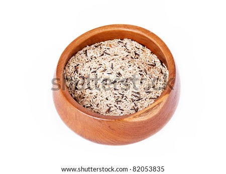 Asian wild rice in a wooden bowl