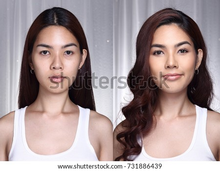Asian Woman before after make up hair style. no retouch, fresh face with nice and smooth skin. Studio lighting grey background #731886439