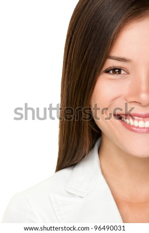 Asian woman. Business woman closeup portrait of happy smiling young businesswoman in white suit. Professional young mixed race Caucasian / Chinese Asian woman on white background.