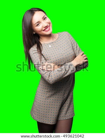 asian woman crossing arms stock photo