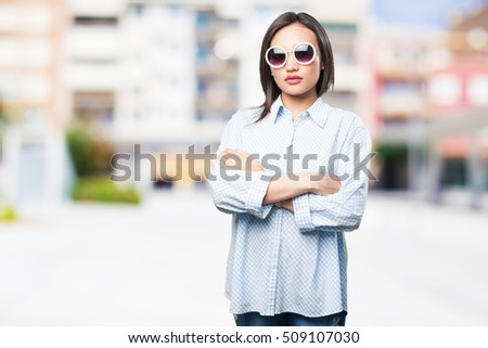 asian woman crossing arms #509107030