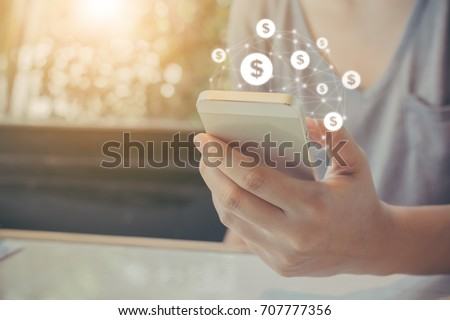 Asian woman hand using mobile phone with online transaction application, Concept financial technology (fintech)