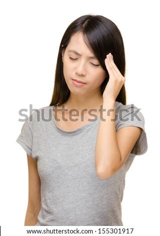 Asian woman have seriously headache