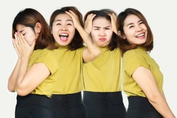 Asian woman having mood swings with different emotions sad, moody, happy, angry feelings on face, multiple personality disorder concept
