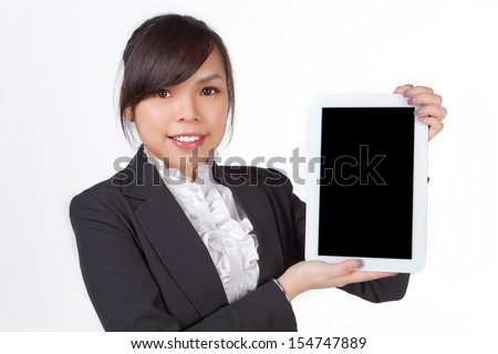 Asian woman holding board , black screen for texture