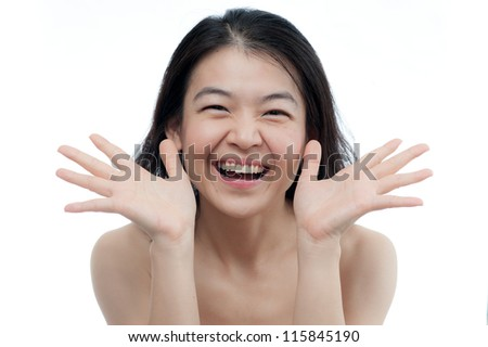 asian woman in Action with Happy Face