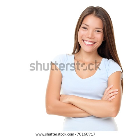 Asian woman isolated on white background. Casual mixed-race Asian Caucasian woman smiling looking happy in light blue t-shirt.