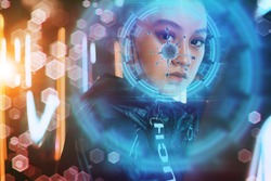 Asian woman looking at digital display. Corona virus concept