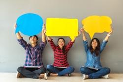 Asian woman&men Survey Assessment Analysis Feedback Icon