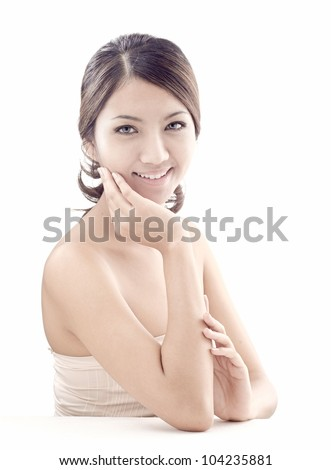 asian woman model beauty shot in studio on white background