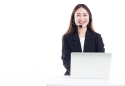 Asian woman officer talk and answer with customer , call center worker on white background