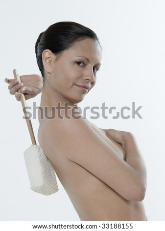 asian woman on isolated background body care