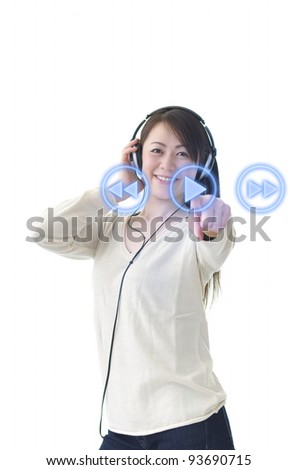 Asian woman pressing play button