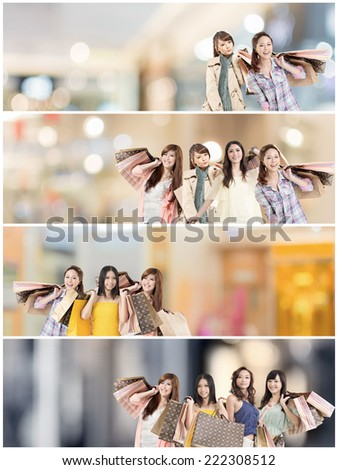 Asian woman shopping, collection from 7 different people, good for web advertisement or the bar.