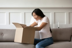 Asian woman sitting on couch in living room opens received delivered parcel feels happy. Satisfied client shopper buy qualified goods in internet unbox package, quick trusted delivery service concept