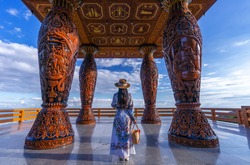Asian woman standing at viewpoint on Doi suthep, Chiang Mai province,Thailand