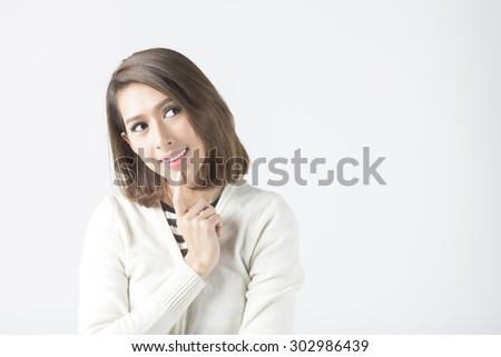 Asian Woman Thinking And Decision Making #302986439