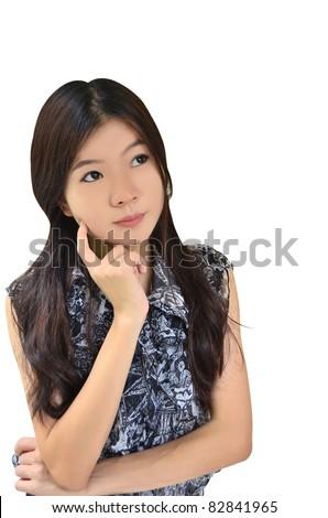 Asian woman thinking on white background