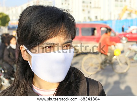 Asian woman wearing a face mask to protect against disease and pollution