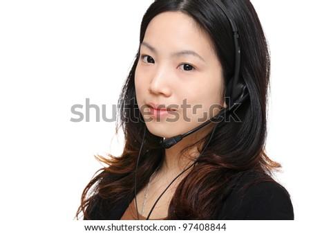asian woman wearing headset