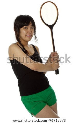 Asian woman with badminton racket isolated on white. Close-up, high key, studio